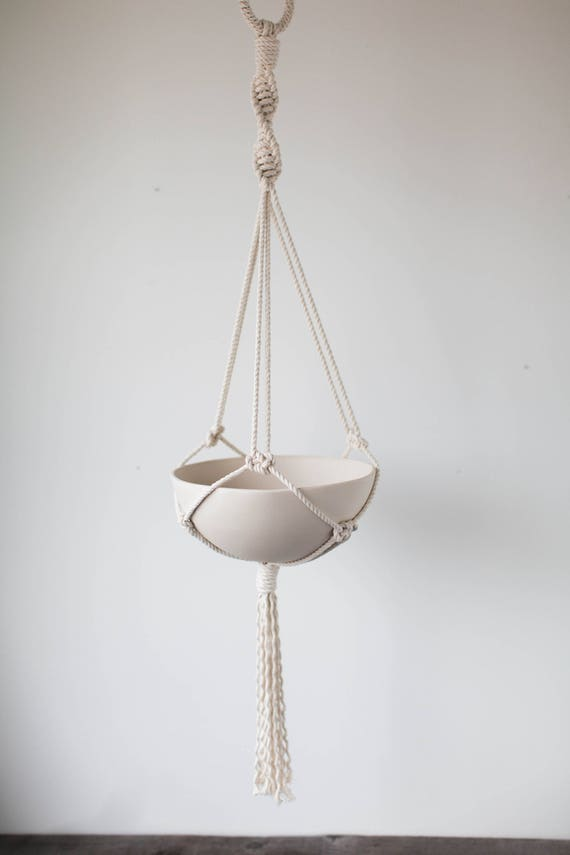 Dahlia Large Hanging Planter, Includes both Porcelain Bowl and Macrame Cotton Hanger