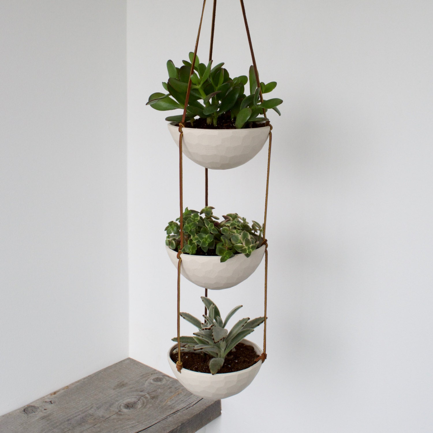 3 Tier Hanging Succulent Planter Geometric Faceted Or Smooth Finish
