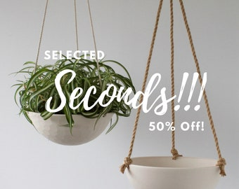 SECONDS Large Hanging Planter, Ceramic Porcelain Basket with Jute or Cotton Cord, Hand Carved Geometric or Smooth Finish