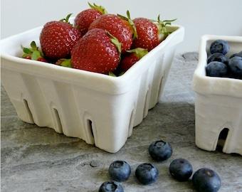 Porcelain Berry Basket, Ceramic Fruit Colander choose Large, Small, or Set of 2