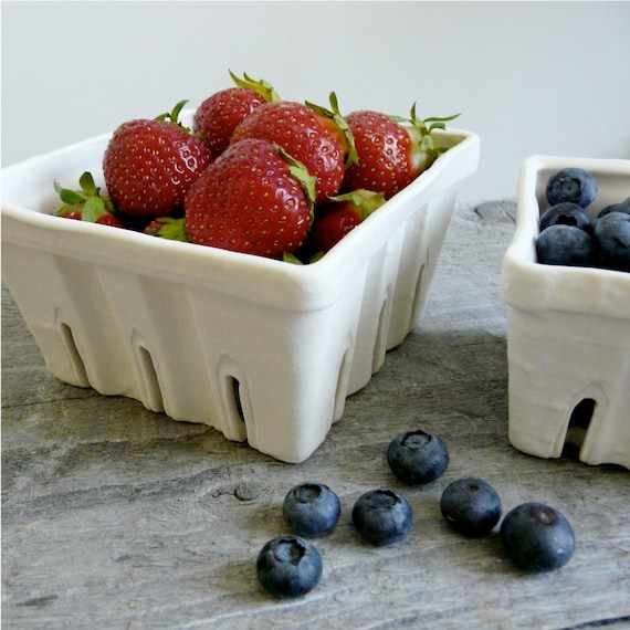 Porcelain Berry Basket, Ceramic Fruit Colander choose Large, Small, or Set of 2