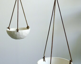 Hanging Porcelain Ceramic Planter with Leather Cord Size Small Geometric Carved or Smooth Texture
