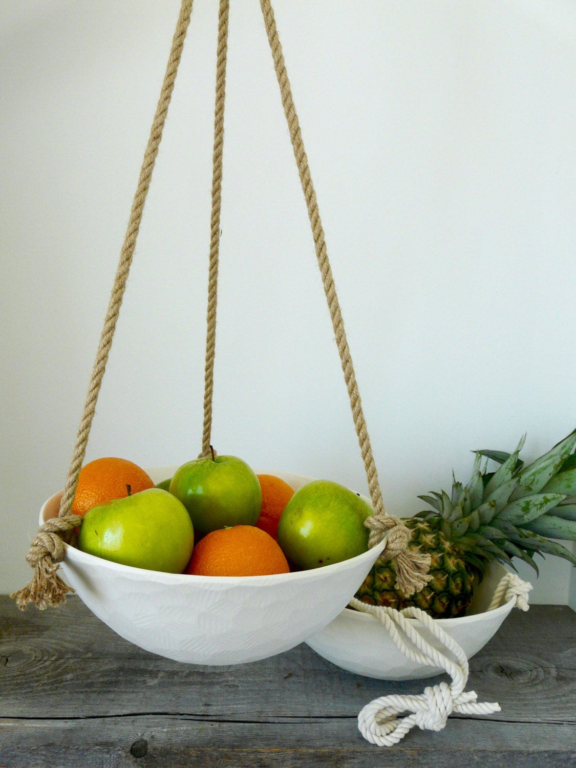 Large Hanging Ceramic Fruit Basket, Jute or Cotton Cord, Hand Carved ...