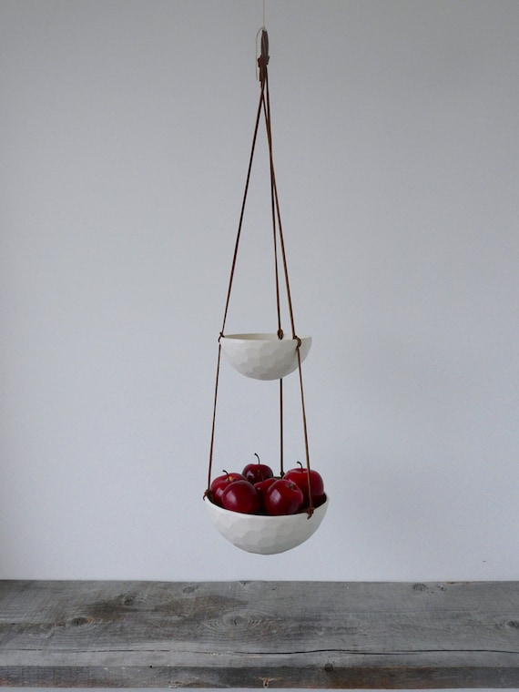 Medium Hanging Fruit Basket, Two Tiered Porcelain and Leather