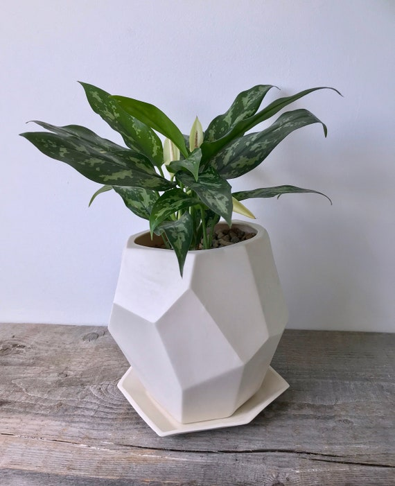 Geo-Planter, Geometric Faceted Planter, Ceramic, Modern Planter Design