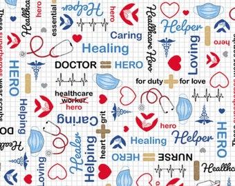 Calling All Nurses Fabric  Medical Yardage   Windham 37306-4 Red  Medical Fabric  Nursing Fabric by the yard  Yardage /& Fat Quarters