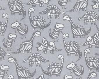 Timeless Treasures - Dinosaur Skeletons - Grey
