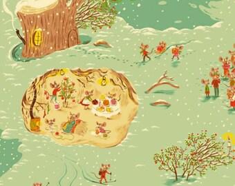 Windham - Sugarplum by Heather Ross - Christmas Mice - Aqua