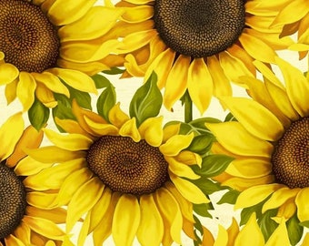 Wilmington Prints - Sunset Blooms - Large Sunflowers - Ivory