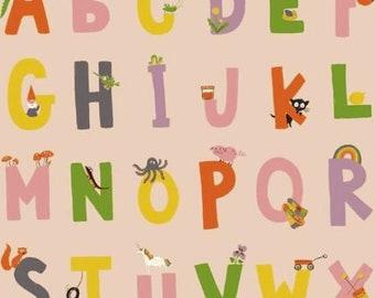 Windham - Kinder by Heather Ross - Alphabet - Pink