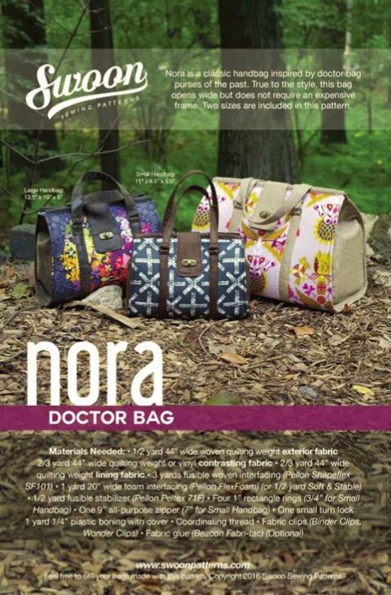 Swoon Sewing Patterns Nora Doctor Bag Pattern | Etsy
