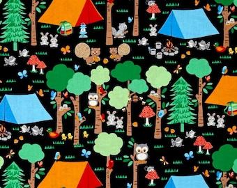 Blank Quilting - Camping Club - Woodland Animals - Black