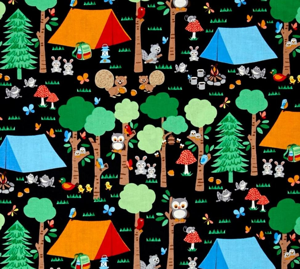 Woodlands Campsite At The Formula 1: Blank Quilting Camping Club Woodland Animals Black