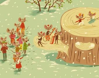 Windham - Sugarplum FLANNEL by Heather Ross - Christmas Mice - Aqua