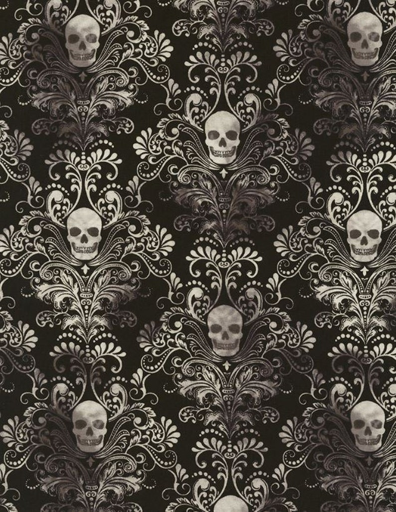 ae4d8e6a62229 KNIT Timeless Treasures Skull Damask