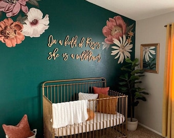 In a field of roses, she is a wildflower   Nursery Decor   Kid's Room Decor   Cut Out Letters Sign   Nursery Wall decor   DIY   HGTV trend
