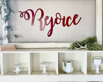 REJOICE always RAW metal wall words Sign   Large metal sign   Christmas Decor   Holiday   Wall Decor   Sign   You paint