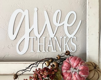 Give thanks   Thanksgiving   large Sign   Metal   Raw   You Paint   HGTV decor   jane   Metal unlimited