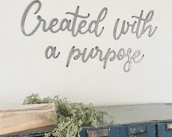 Created with a purpose RAW metal words   wall hangings   you paint   rustic   verse   positive quote   wall   home and living decor