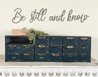 Be still and know RAW metal wall verse    scripture   home and living   gift   spiritual   wall words  