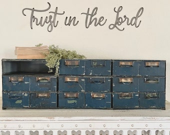 Trust in the Lord   verse   wall words   positive quote   raw metal   rustic decor   home and living