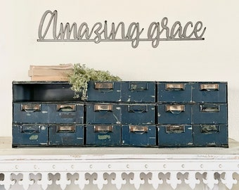 Amazing grace metal sign   raw steel   gift   home and living   hgtv   redline   Religious   verse   rustic   Positive wall quote