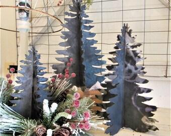 Farmhouse Fir Christmas Tree Metal 3-D Decor   Blank   Raw Metal   Home Decor   Flocked Tree   DIY   Supplies   set three   Rustic Tree hgtv