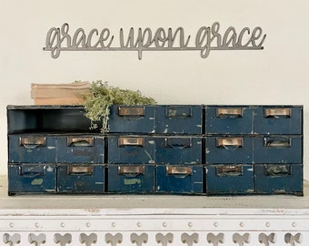 Grace upon grace metal sign   raw steel   gift   home and living   hgtv   redline   Religious   verse   rustic   Positive wall quote #homea