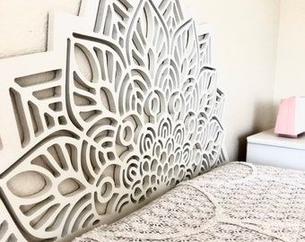 Mandala headboard   Geometric Wall headboard not painted   Bed   Design    Unfinished   DIY   Boho   Medallion   Lotus   Bohemian   Carved