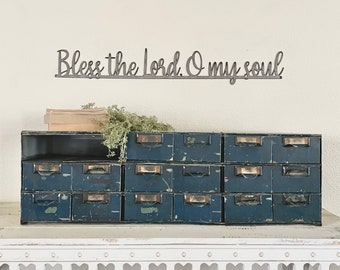 Bless the Lord oh my soul metal wall sign   gift   Christmas   redline   rustic   grandparents   home and living   farmhouse   antique