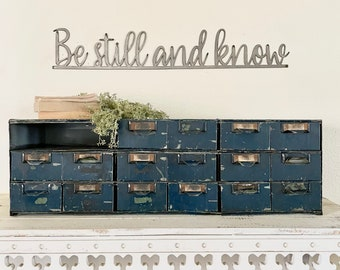 Be still and know metal sign   raw steel   gift   home and living   hgtv   redline   Religious   verse   rustic   Positive wall quote