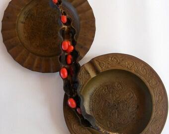 Set of Two Vintage Brass Ashtrays Catchalls