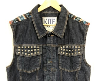 863fd06a5 Kite Biker Motorcycle Vest Denim Southwest Embroidery Metal Studs Vintage  48 Chest