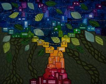 Rainbow Connection Tree - Original Painting