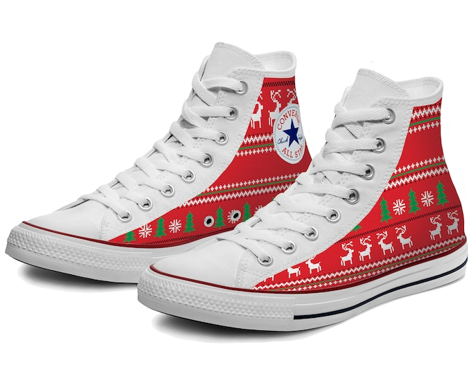 Ugly Christmas Sweater Custom Converse High Top Shoes