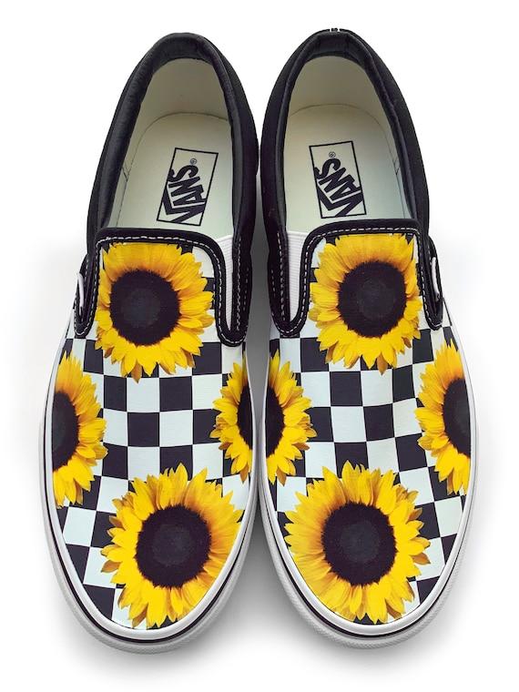 Checkerboard Sunflower Custom Vans