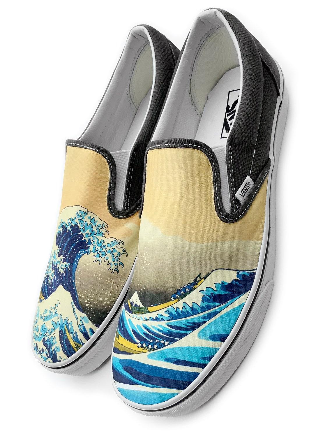 La grande onda Slip-on Custom Vans Brand Scarpe - Scarpe alla moda tvzvbdws Qg8rgI KveP5J