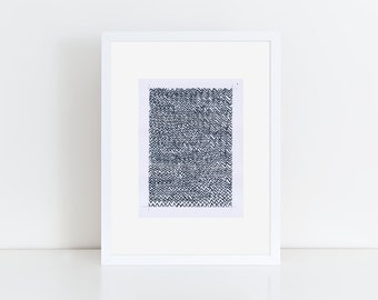 Geometric Abstract Painting, 12x9, Black & White  NY1624