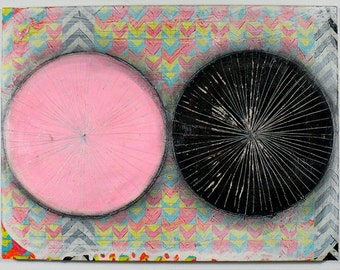 12x16 Geometric Abstract Painting, Pink & Black on Panel NY1122