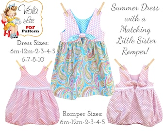 a551e5e221a7 Easy Bubble Romper   Big Sister Dress Sewing Pattern. PDF Sewing Pattern  for Girls. Summer Dress. Sundress. Baby Sewing Pattern Sallie