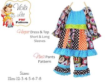 Peasant Dress/Top & Ruffle Pants Sewing Patterns, Girls Dresses, PDF Digital Instant Download. Harper-Nina