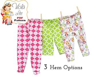Baby Leggings Sewing Pattern. Long & Capris, Digital Instant Download PDF Pattern. Baby Sewing Pattern. Knit fabrics Toddler Leggings. Izzy