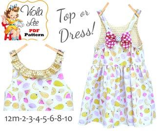Unique Easy Girls Summer Sundress & Top Pattern.  Instant Download Digital PDF Pattern.  Marnie