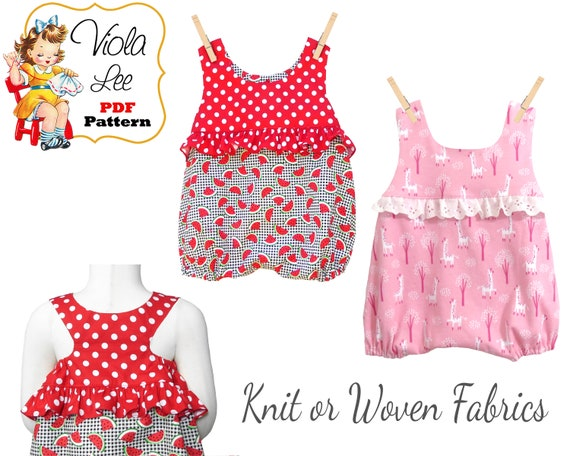 e142b0945060 Baby Racer Back Bubble Romper Sewing Pattern pdf Baby Sunsuit