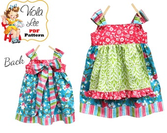 Apron Knot Dress Pattern. Jumper Pattern. INSTANT DOWNLOAD. Girl's Dress Pattern. pdf Sewing Pattern. 2/3T-8 Josie