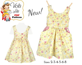 Sweet Summer Dress with Fun Large Pockets Digital Sewing Pattern. 2 Neckline Options. Girls Dress pattern. PDF Instant Download. Kaity