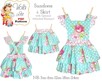 Sundress & Skirt Sewing Pattern with Optional Attached Bloomer. PDF Instant Digital Downloaded,  Amelia