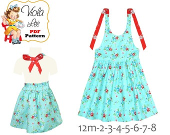 Girls Summer Halter Dress & Top Pattern. Instant Download Digital PDF Sewing Pattern.  Ramona