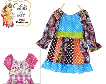 Girls Dresses, Top-Dress Girl's Sewing Pattern. Toddler Peasant Dress Pattern pdf. Girls Peasant Dress Pattern. Toddler pdf Pattern. Harper