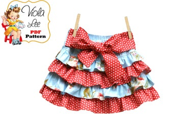 Jessalyn Girl's Skirt Pattern pdf, Ruffle Skirt Pattern, Skirt Sewing Pattern, Twirl Skirt Pattern. Toddler Skirt Pattern. Girls pdf Pattern